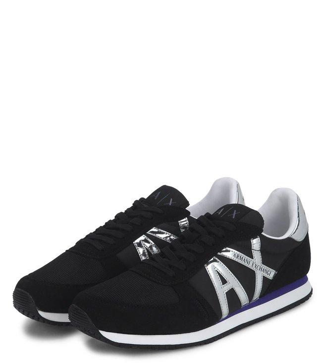 ddae485d4 Buy Armani Exchange Nero Retro Logo Sneakers for Men Online   Tata ...