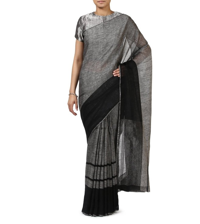 Anavila Charcoal Textured Evening Wear Saree