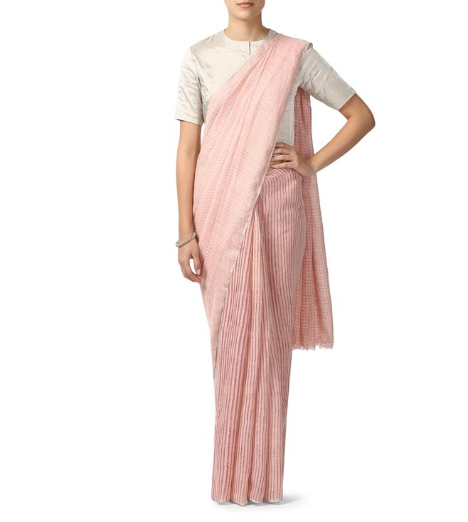 Anavila Pink Striped Everyday Wear Saree