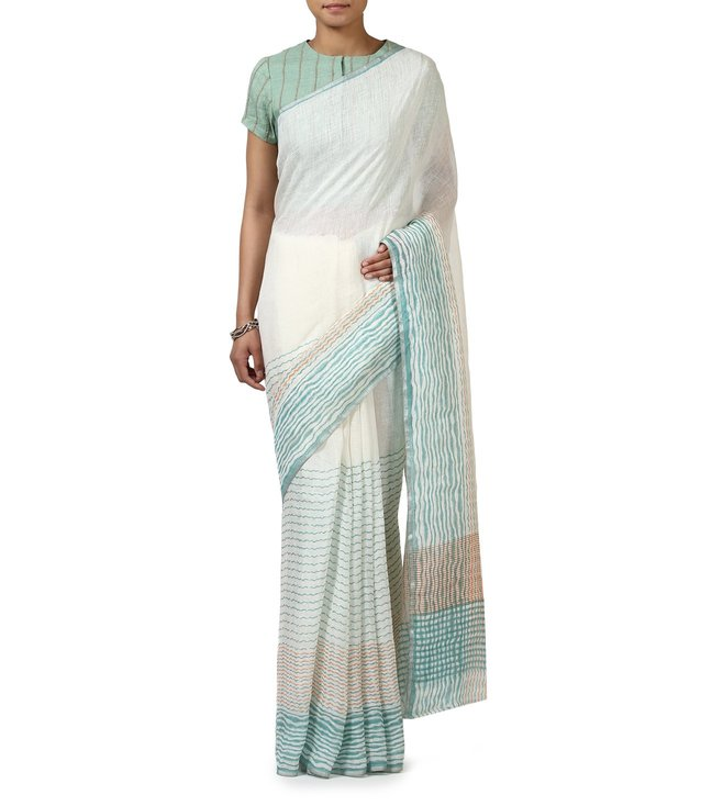 Anavila White Striped Everyday Wear Saree