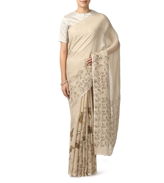 Anavila Beige Block Printed Saree