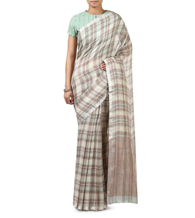 Anavila Khaki Checks Everyday Wear Saree