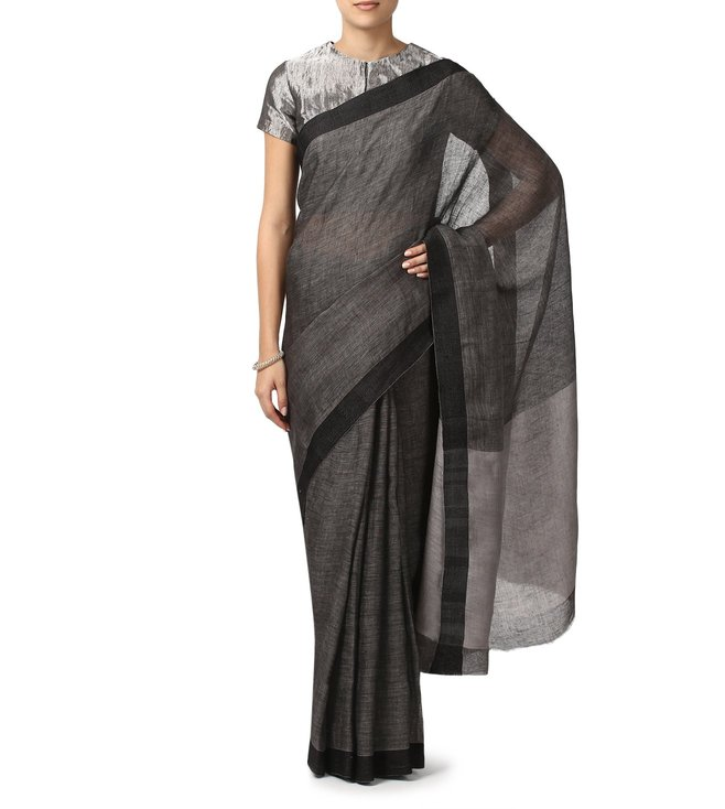 Anavila Charcoal Textured Linen Everyday Wear Saree