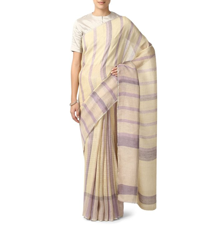 Anavila Vanila & Lavender Striped Everyday Wear Saree