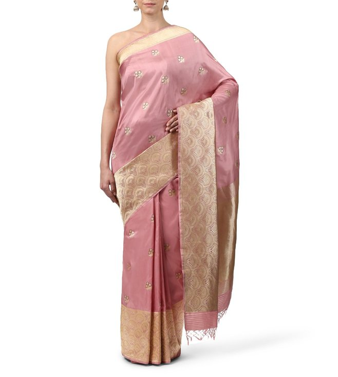 Swati and Sunaina Pink Ananya Padmini Silk Saree With Blouse