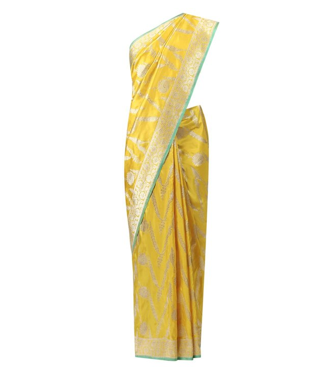 Swati and Sunaina Yellow Tejas Silk Saree With Blouse