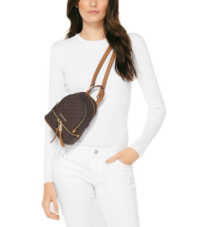 Buy MICHAEL Michael Kors Brown Rhea Mini Zip Backpack for Women ... 69b3471dad