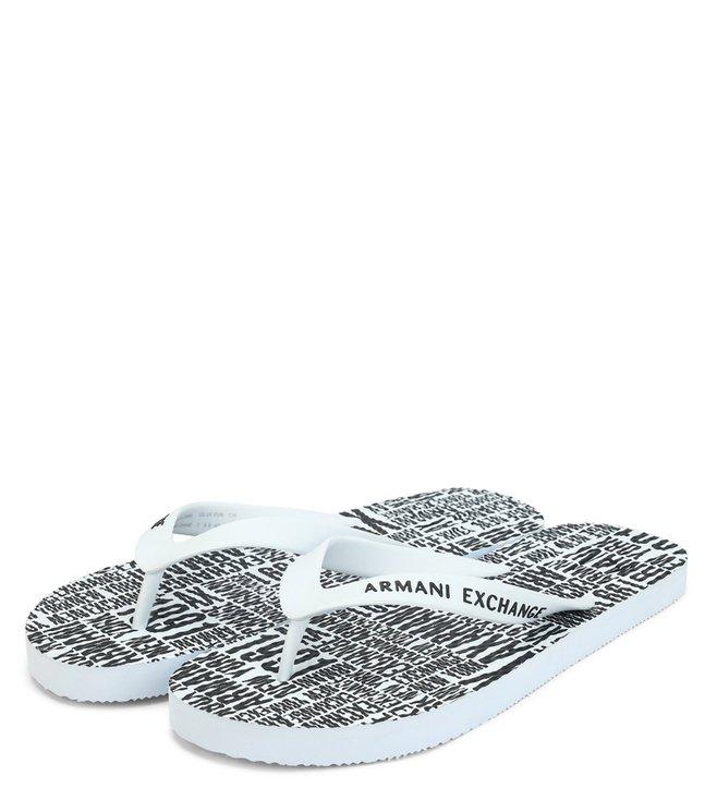 Armani Exchange White Typographic Print Flip Flops