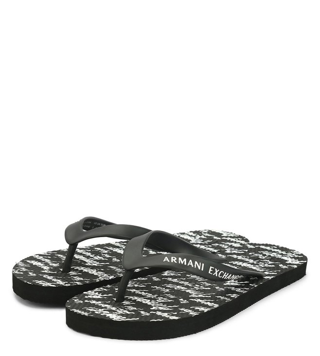 Armani Exchange Black Printed Flip Flop