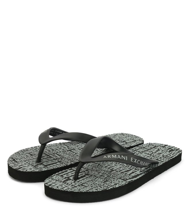 d75678993a900 Buy Armani Exchange Black Typographic Print Flip Flop for Men Online ...
