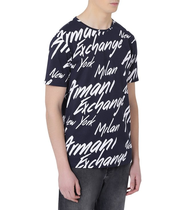 Signature Armani Buy For Navy T Shirt Fit Exchange Regular Printed 80nwPOk