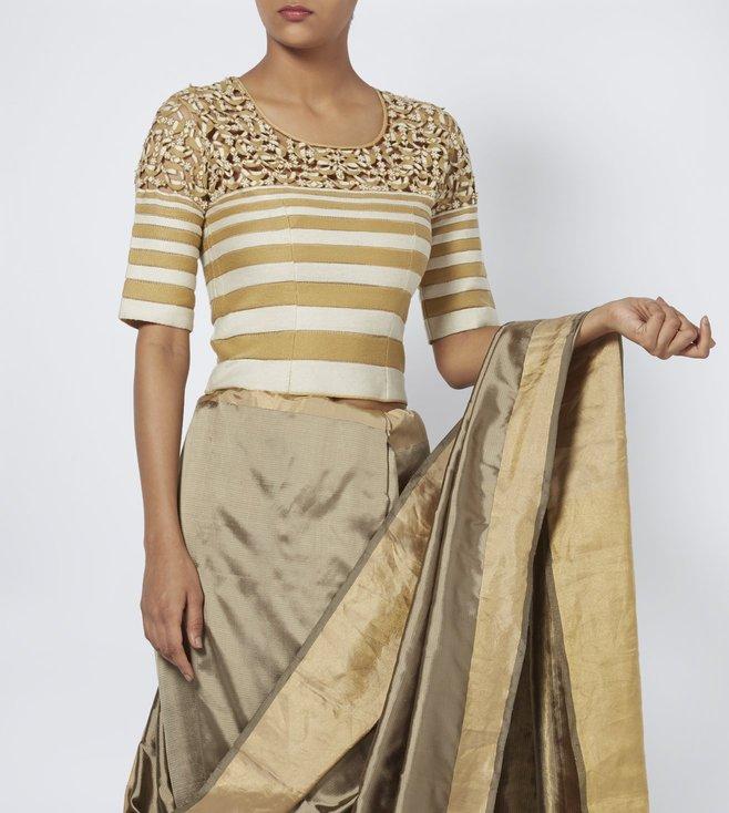 Vaishali S Beige & White Striped Blouse