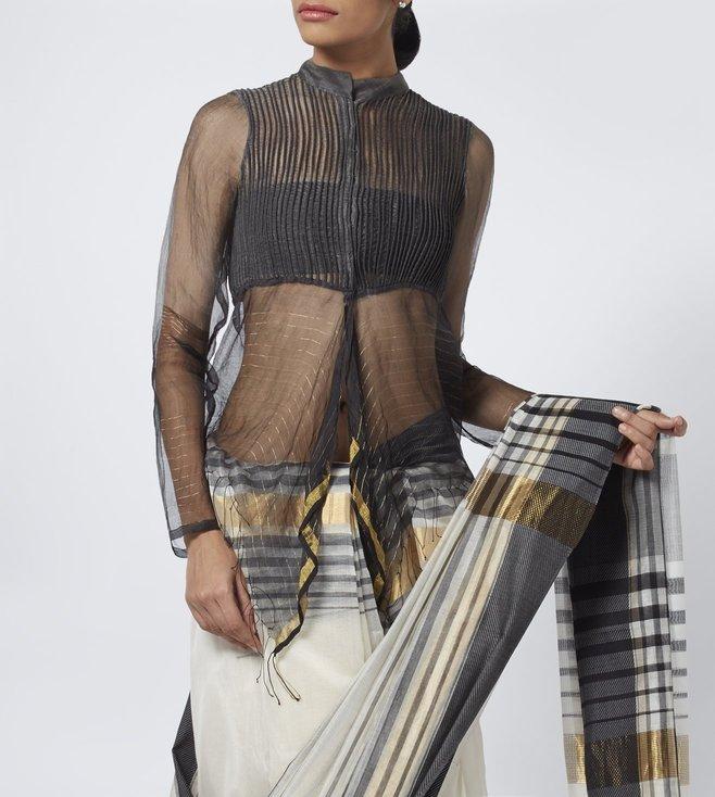 Vaishali S Black Striped Chanderi Corded Blouse
