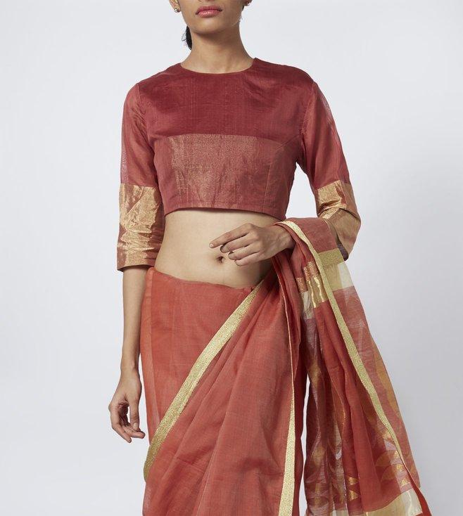 Vaishali S Red Textured Chanderi Silk Blouse