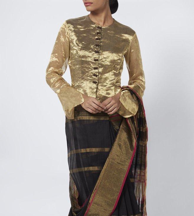 Vaishali S Gold Textured Chanderi Blouse