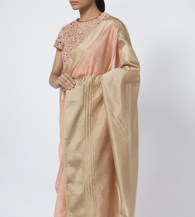 Vaishali S Peach Textured Silk Saree