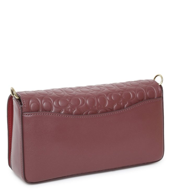 bbbdd259 Buy Coach Maroon Signature Dinky Leather Cross Body Bag for Women ...
