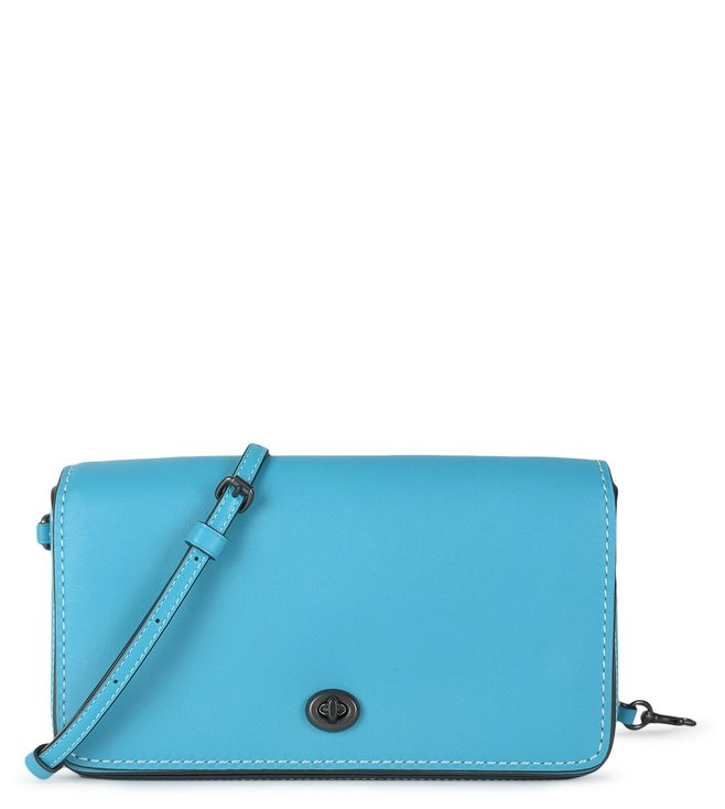 74be577065 Buy Coach Turquoise Denim Dinky Leather Cross Body Bag for Women ...