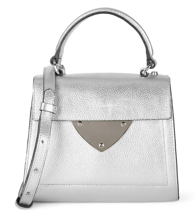 60089d34d1 Buy Coccinelle Silver B14 Mini Leather Satchel for Women Online ...
