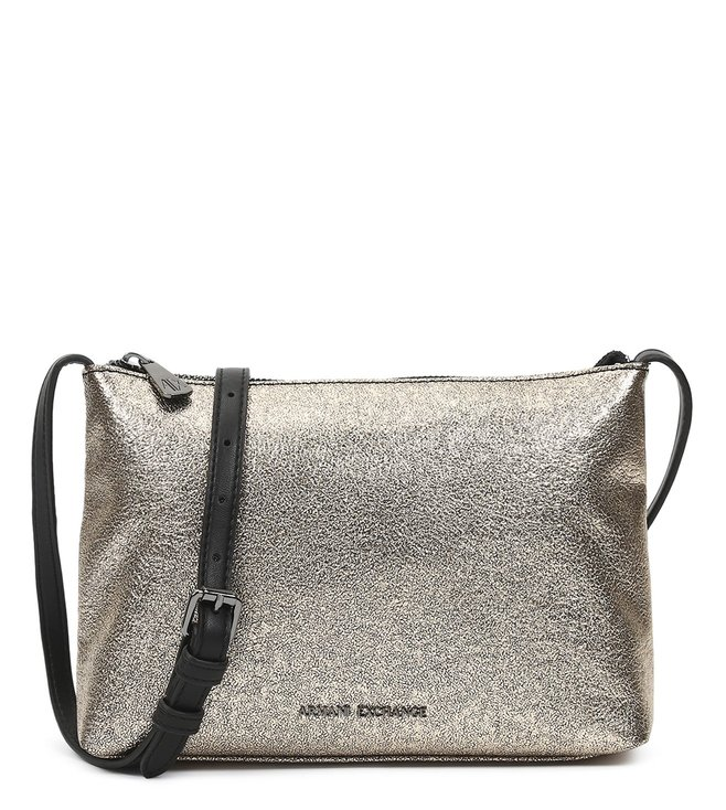 d002581393ee Added to Bag. Armani Exchange Silver Metallic Print Small Cross Body Bag