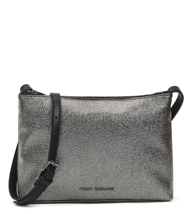 e99a38e8f170 Added to Bag. Armani Exchange Gun Metal Metallic Small Cross Body Bag