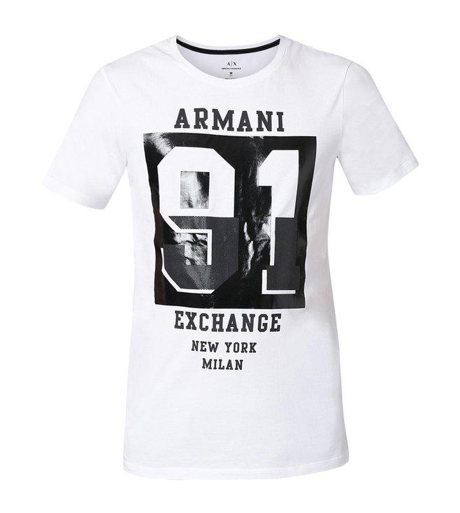 c4636ac1 Buy Armani Exchange White Graphic 91 Slim Fit T-Shirt for Men Online ...