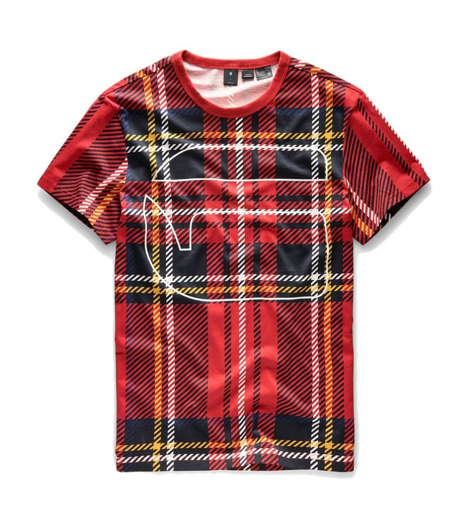 33ece78fa86 Buy G Star Raw Milk Pompeian Red Checks Royal Tartan X25 T Shirt for ...