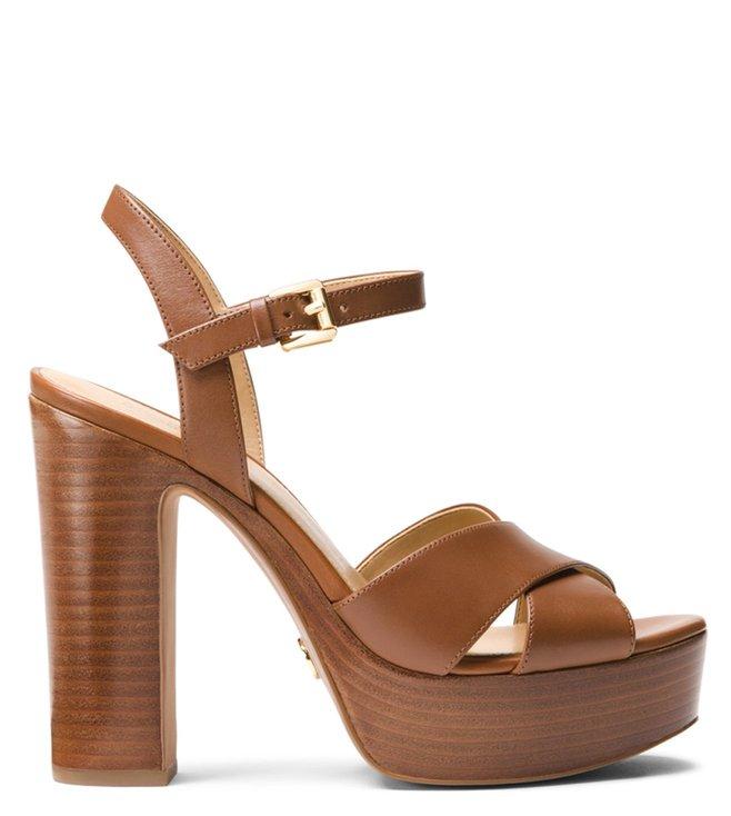 681c4df1d0 Michael Kors. MICHAEL Michael Kors Luggage Sia Leather Platform Sandals ...