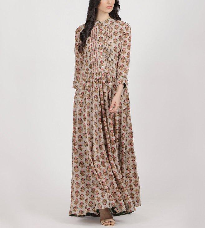 Ritu Kumar Grey Printed Long Kurta