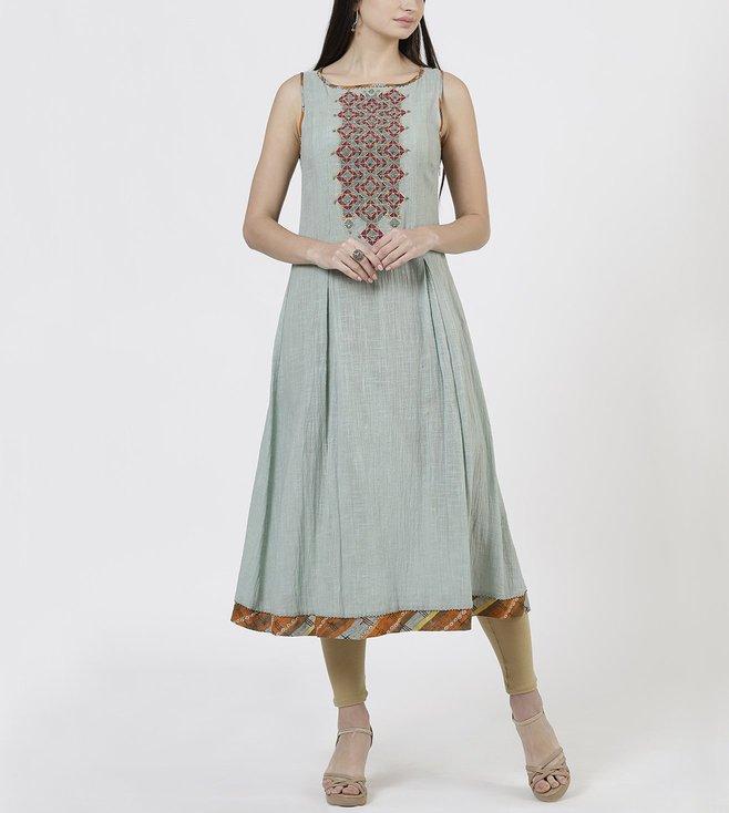 Ritu Kumar Turquoise & Rust Embroidered Pleated Kurta