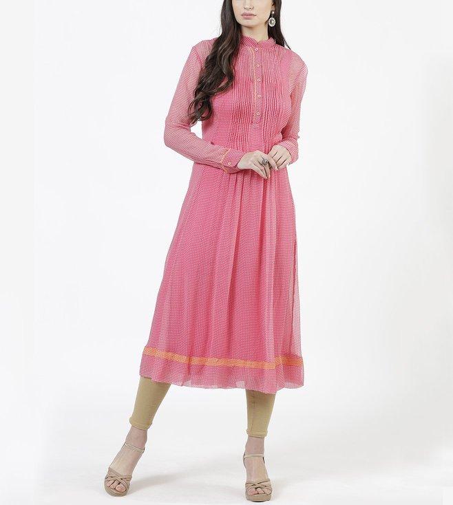 Ritu Kumar Pink Printed Anarkali Kurta