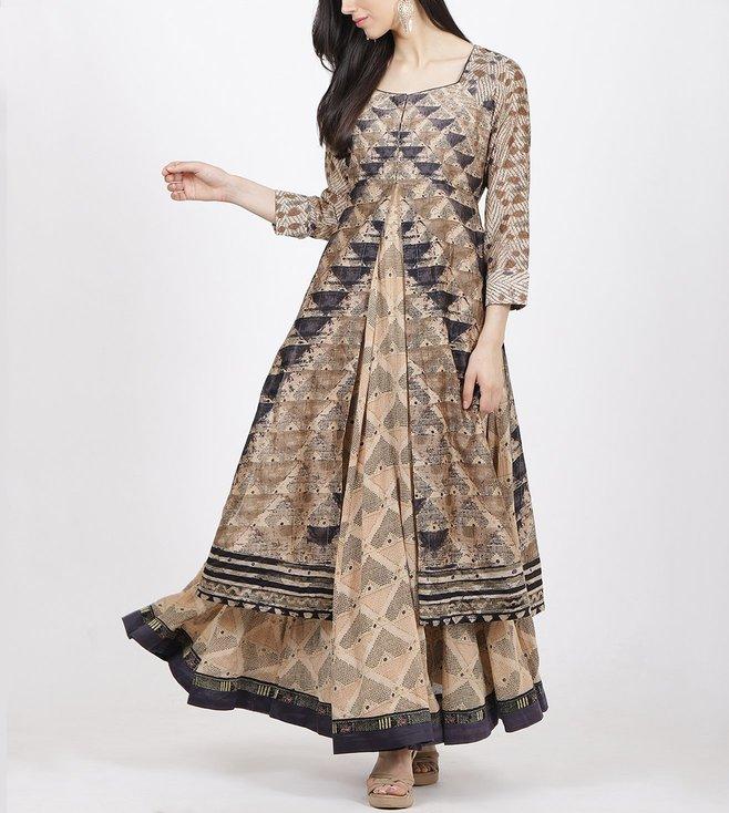 Ritu Kumar Beige Printed Jacket With Inner