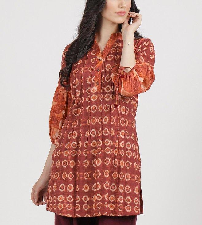 Ritu Kumar Red Cotton Blend Printed Kurti