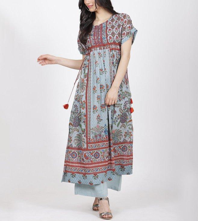 Ritu Kumar Turquoise Printed Kurta With Trouser
