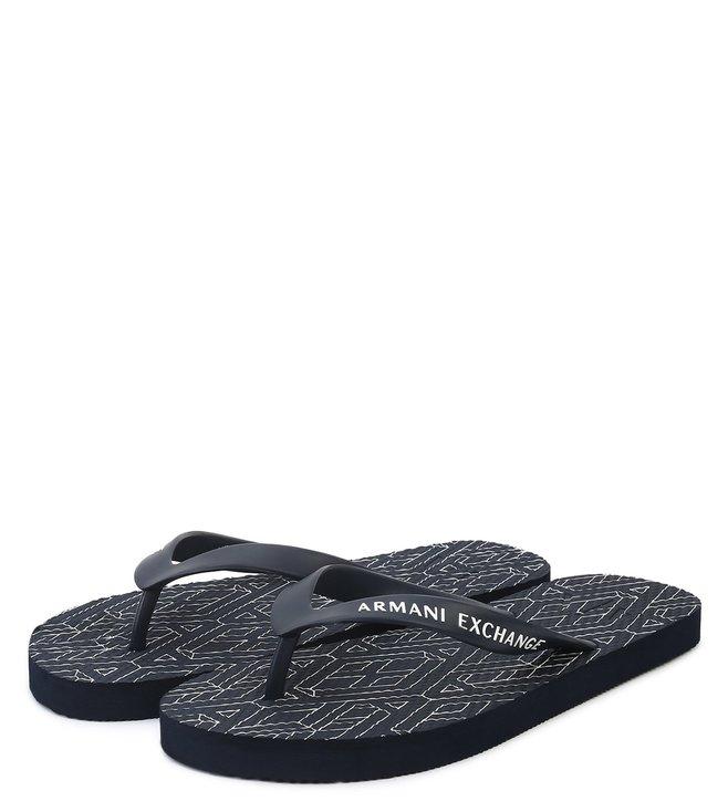 Armani Exchange Navy Geometric Print Flip Flops