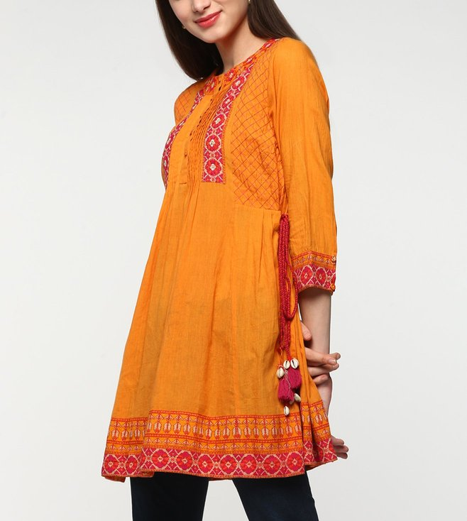 Ritu Kumar Orange Embroidered Tie-Up Kurti