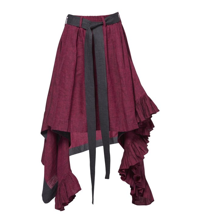 Chola Pink Textured Frill Skirt