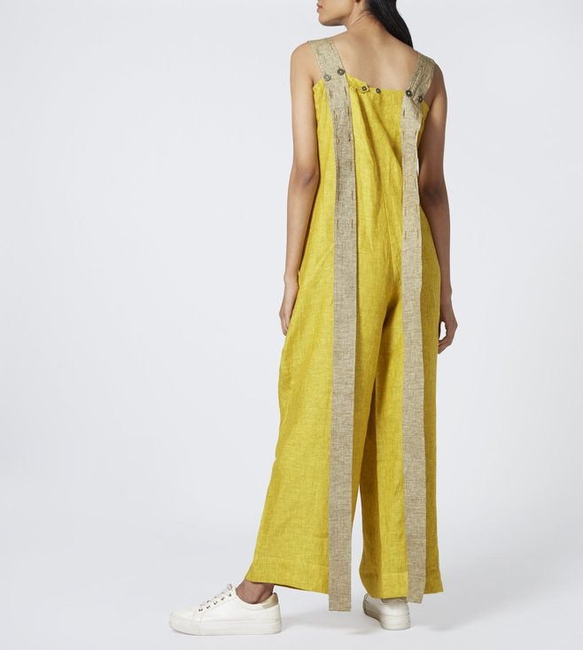 Chola Mustard Textured Pinafore Jumpsuit