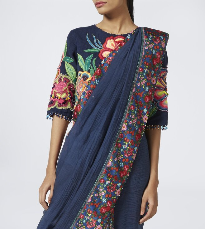 Pero Blue Floral Print Cotton Silk Saree