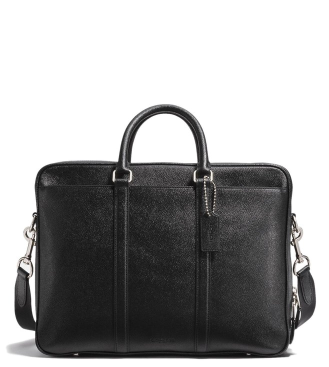 38c7429ccde3 Buy Coach Black Metropolitan Double Zip Leather Laptop Bag for Men ...