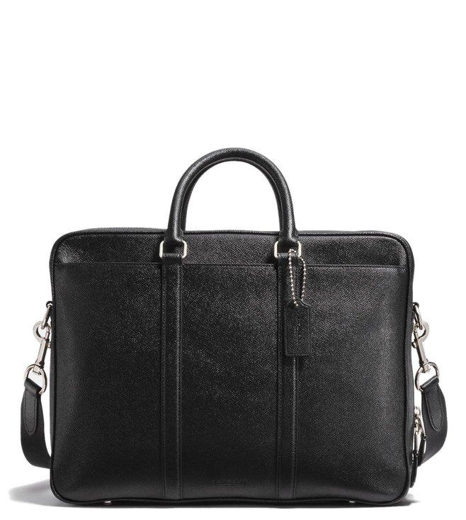38c7429ccde3 Buy Coach Black Metropolitan Double Zip Leather Laptop Bag for Men ...