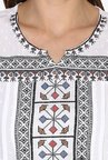 Juniper White Embroidered Cotton Kurti