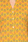 Varanga Mustard & Pink Printed Cotton Kurta With Palazzo