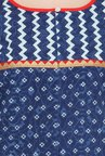Varanga Indigo & Red Printed Cotton Kurta With Pants