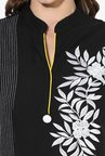 Mytri Black Embroidered Cotton Straight Kurti