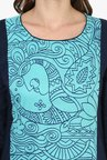 Mytri Turquoise & navy Printed Cotton Straight Kurta