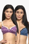 Soie Purple & Blue Non Wired Padded Seamless Bra (Pack Of 2)