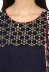 Juniper Navy Embroidered Rayon Angrakha Kurta With Tassels