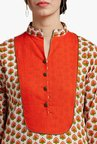 Jaipur Kurti Orange & Off White Printed Kurta