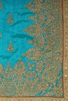 Soch Turquoise & Gold Embroidered Silk Saree With Blouse